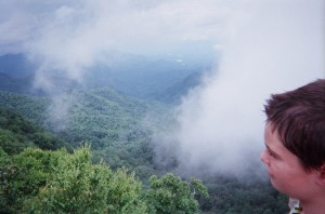 looking out over misty mountains