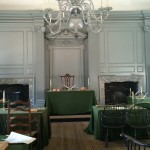 The room where the Declaration was signed. The chair in the middle is the chair George Washington sat in.