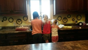 Me, Courtney, and Kendall washing eggs.