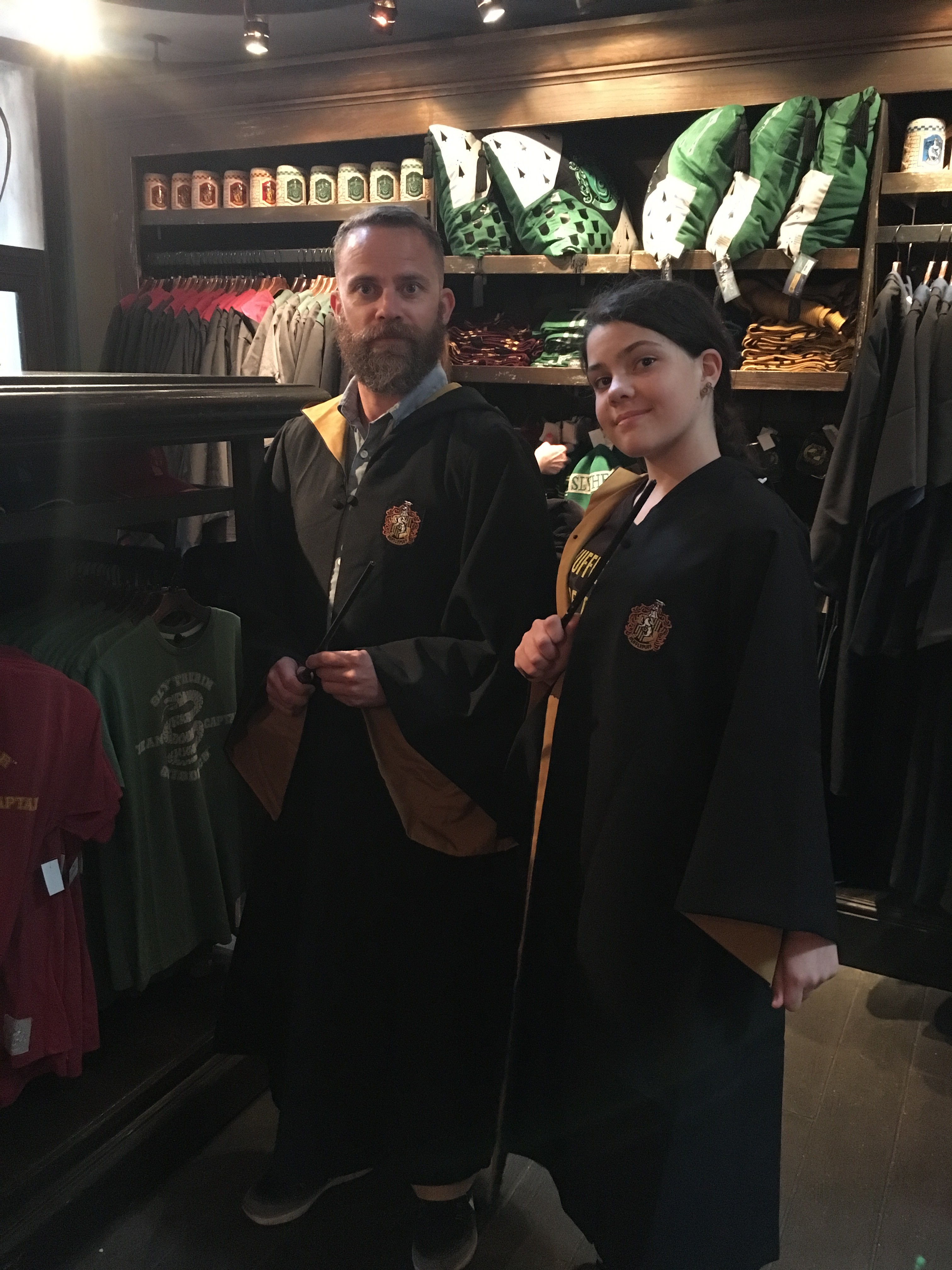 Dad and I trying on Hufflepuff robes.
