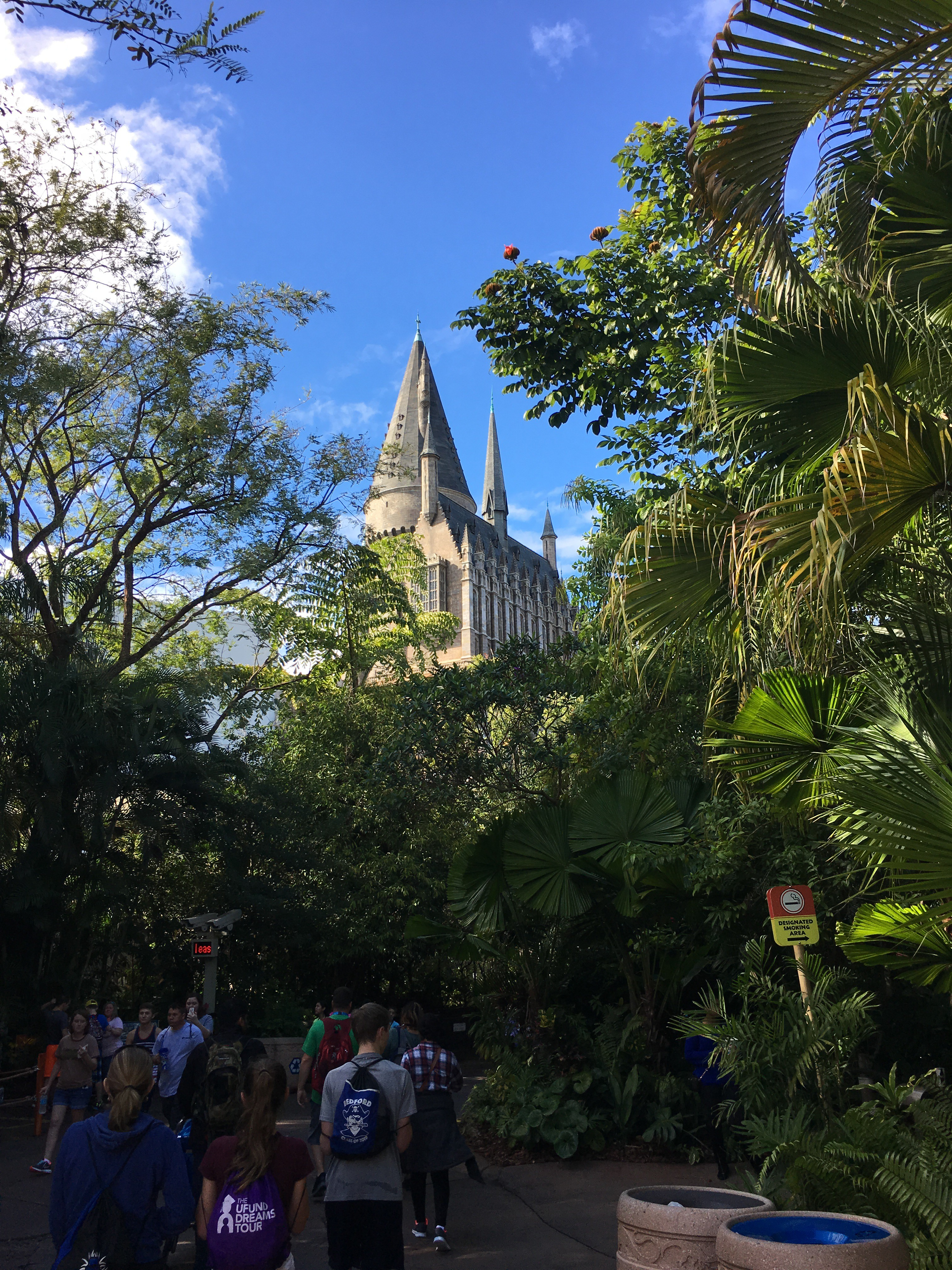 Hogwarts, as seen through the forests of Jurassic Park.